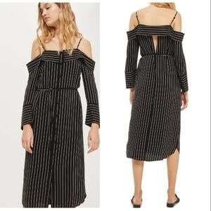 Topshop • Pinstriped Midi Shirt Dress